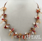 Wholesale Brown Series Assorted Pearl Crystal and Agate Necklace with Brown Thread