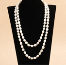 Graceful Long Style 9-10mm Natural White Freshwater Pearl Necklace (Sweater Chain)