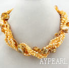 Wholesale Multi Strands Bright Yellow Color Freshwater Pearl and Bubble Shell Necklace