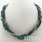 Wholesale Dark Green Series Multi Strands Peacock Freshwater Pearl and Phoenix Stone Necklace
