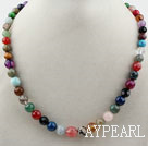 Assorted Multi Color Multi Stone Graduated Beaded Necklace