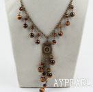 Wholesale Vintage Style Tiger Eye Necklace with Lobster Clasp