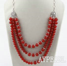 Wholesale Multi Layer Round Carnelian Necklace with Metal Chain and Lobster Clasp