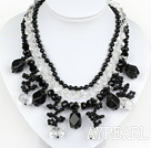 Wholesale New Design Multi Layer White Crystal and Black Agate Necklace