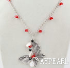 Wholesale White Coin Pearl and Red Crystal Necklace with Butterfly Pendant