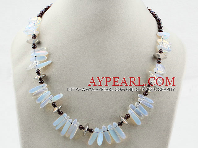 Round Garnet and Branch Shape Opal Necklace