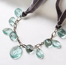 Simple Style Aquamarine Sea Crystal Necklace with Gray Cord