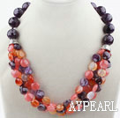 New Design Amethyst and Agate and Cherry Quartz Necklace with Moonlight Clasp