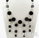 Wholesale New Design Black Flat Round Agate Necklace with Metal Chain