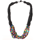 Blandade Multi Strands Multi Color Shell Halsband med svart tråd