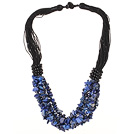 Multi Strands Lapis Chips Necklace with Black Thread