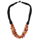 Wholesale Multi Strands Natural Color Agate Chips Necklace with Black Thread