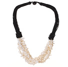 Multi Strands White Shell Chips Necklace with Black Thread