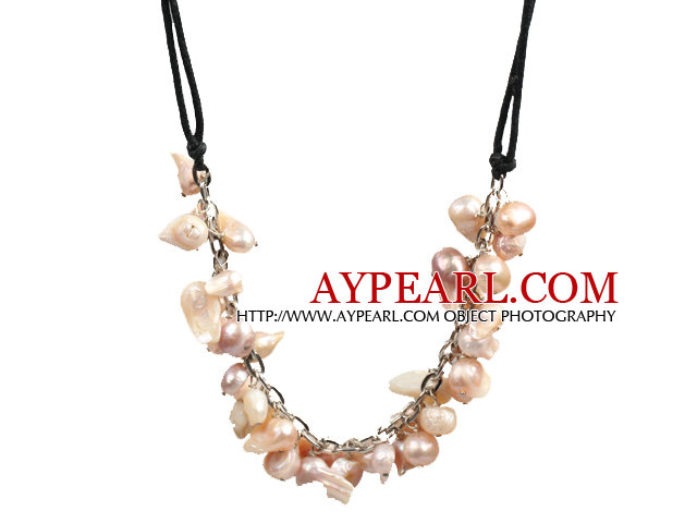 New Arrival Pink Violet Color Teeth Shape Pearl Necklace with Lobster Clasp