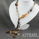 Wholesale free style pearl crystal tiger eye necklace