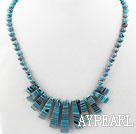 New Design Fan Shape Multi Color Taiwan Turquoise Necklace