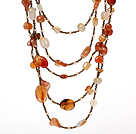 Multi Strands Natural Color Agate and Crystal Necklace