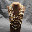 Gorgeous Statement Multi Layer Natural Pearl Clear Crystal Citrine Chips Necklace
