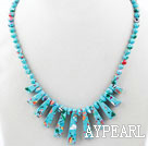 Wholesale New Design Fan Shape Blue Sky Color Taiwan Turquoise Necklace