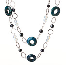 Beautiful Long Cool Style Phoenix Stone and Black Pearl Beads Necklace