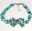 Turquoise and Coral and Crystal Crochet Wire Necklace