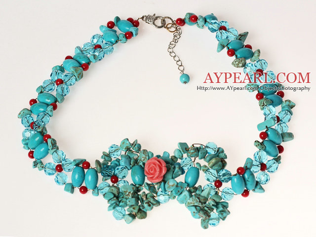 Nouveau Fan Design Forme Multi Color Taiwan turquoise Collier