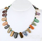 Wholesale chic multi color stone necklace with toggle clasp