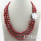 Three Strands 8-9mm Red Brown Color Baroque Pearl Necklace with White Shell Flower Clasp