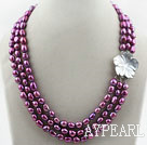 Wholesale Three Strands 8-9mm Dark Purple Color Baroque Pearl Necklace with White Shell Flower Clasp
