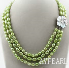 Three Strands 8-9mm Apple Green Color Baroque Pearl Necklace with White Shell Clasp