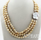 Wholesale Three Strands 8-9mm Golden Champagne Color Baroque Pearl Necklace with White Shell Flower Clasp