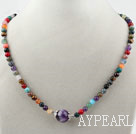 Assortert Round Multi Color Multi Stone Beaded halskjede