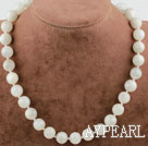12mm White Moonstone Beaded Necklace