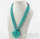 Wholesale Multi Strand Turquoise and Blue Crystal Necklace with Big Turquoise Pendant