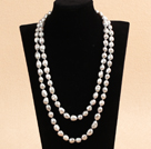 Graceful Long Style 9-10mm Natural Gray Freshwater Pearl Necklace (Sweater Chain)