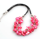 New Arrival Rose Pink Color Teeth Shape Pearl Necklace with Lobster Clasp