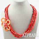Multi Strands Assortert Coral og Shell Flower halskjede