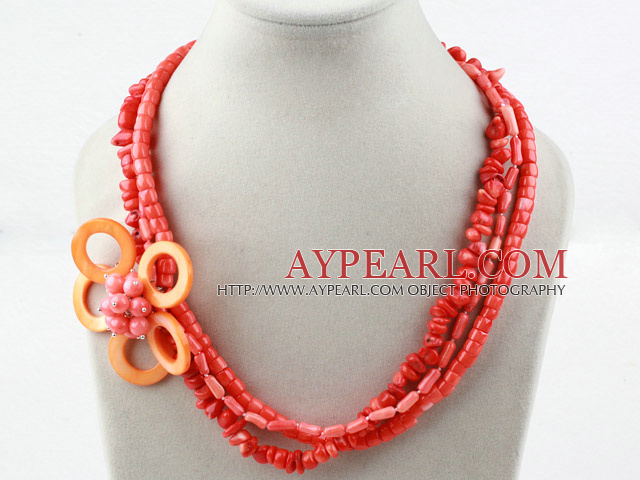 Multi Strands Assorted Coral and Shell Flower Necklace
