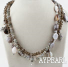 Wholesale Multi Strand Faceted Flash Stone and Gray Agate and Crystal Necklace