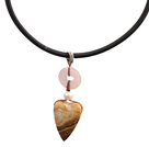 Wholesale Picture Jasper and Rose Quartz Donut and Pearl Pendant Necklace