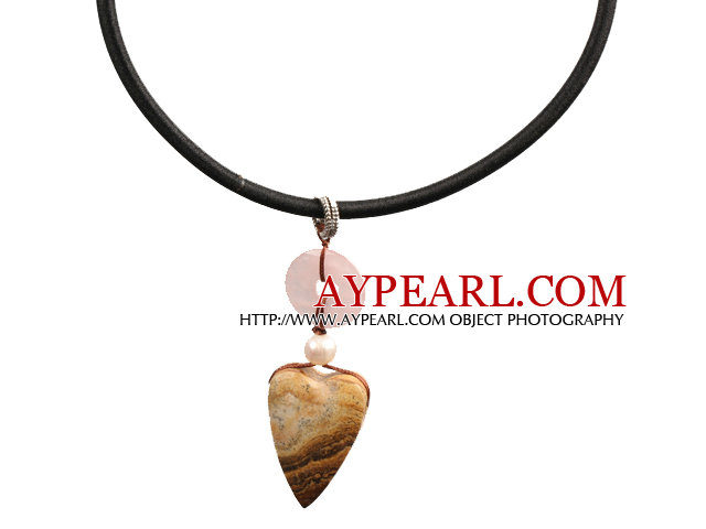 Picture Jasper and Rose Quartz Donut and Pearl Pendant Necklace