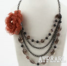 Multi Layer Smoky Quartz and Seashell Beads Necklace with Big Flower