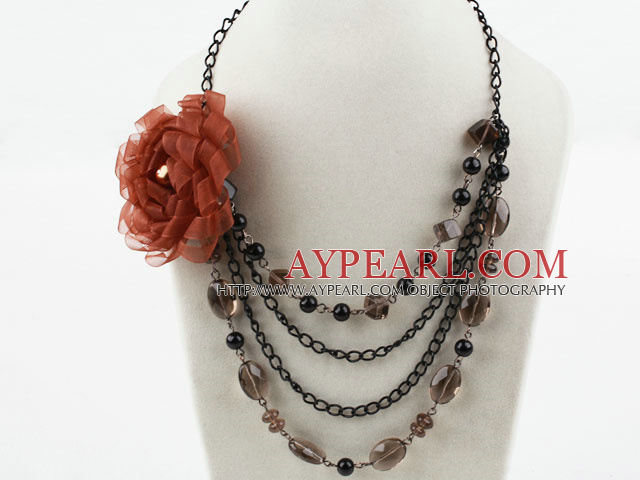 Multi Layer rökkvarts och pärlor Seashell Halsband med Big Flower