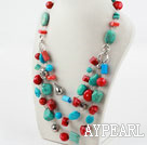 Assorted Turkis og Red Coral Necklace