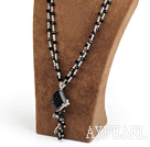 Clear Crystal and Black Agate Necklace