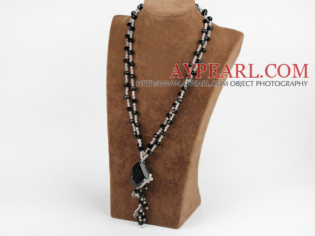 Crystal Clear et Black Collier Agate