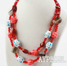 Red Crystal and Carnelian and Clay Necklace