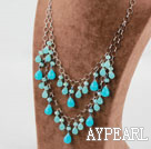 Wholesale Blue Crystal and Blue Jade Necklace with Metal Chain