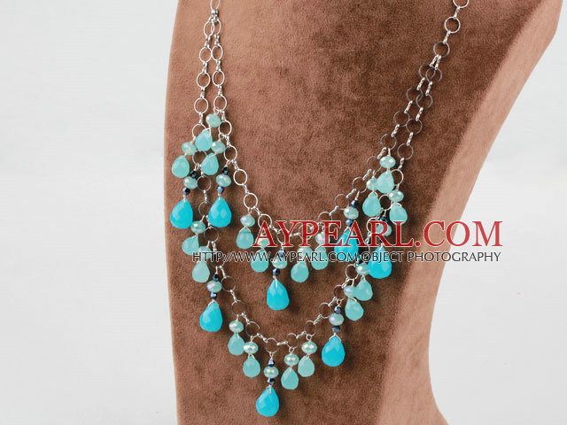 Blue Crystal and Blue Jade Necklace with Metal Chain