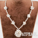Wholesale White Freshwater Pearl and Clear Crystal Flower Necklace